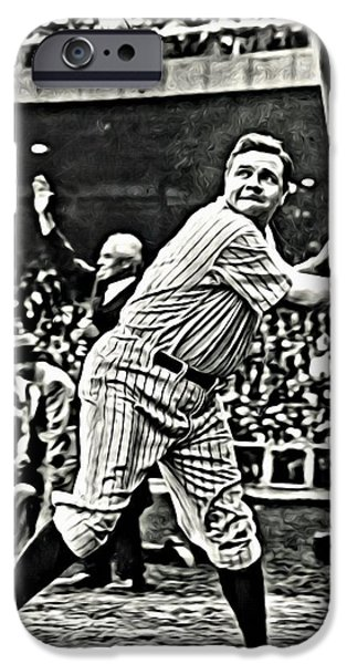 Brave New World iPhone Cases - Babe Ruth Painting iPhone Case by Florian Rodarte