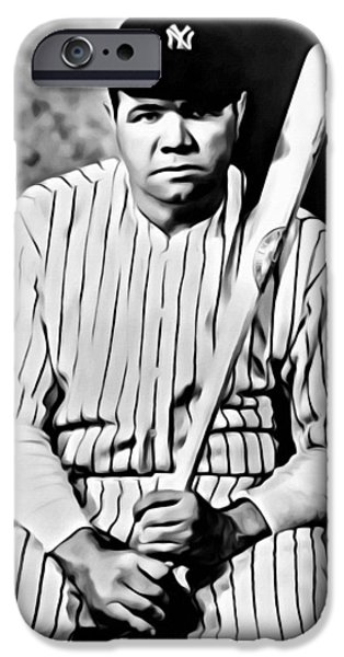 Brave New World iPhone Cases - Babe Ruth Portrait Painting iPhone Case by Florian Rodarte