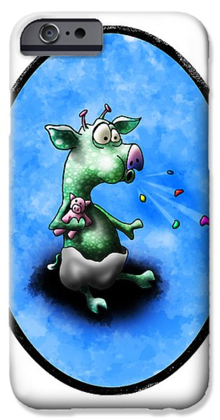 Space Themed Nursery iPhone Cases - Baby Alien Pig Spits iPhone Case by Star  Mudersbach