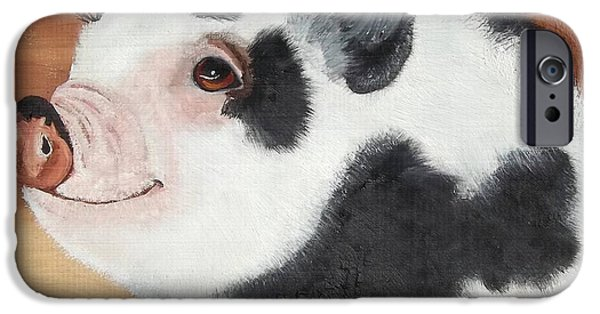 Piglets Paintings iPhone Cases - Baby Bacon iPhone Case by Debbie LaFrance