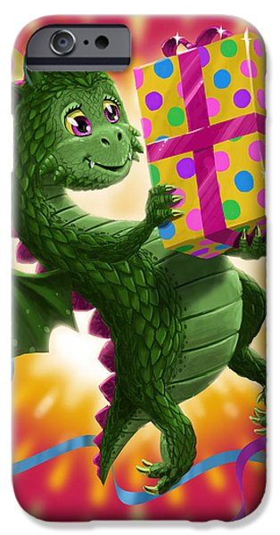 Young Digital Art iPhone Cases - Baby Birthday Dragon with present iPhone Case by Martin Davey