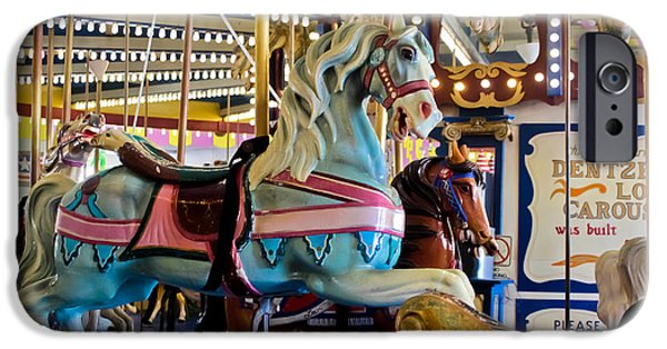 Casino Pier iPhone Cases - Baby Blue Painted Pony - Carousel iPhone Case by Colleen Kammerer