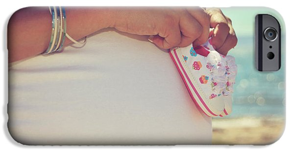 Conceptual iPhone Cases - Baby Booties on a Baby Bump on the Beach iPhone Case by Laurie Search