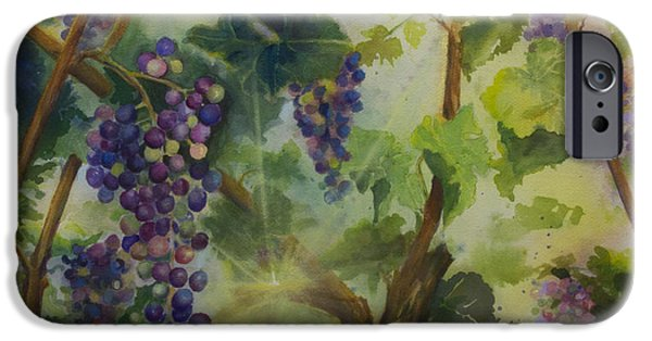 Vineyard Art iPhone Cases - Baby Cabernets in Sunlight iPhone Case by Maria Hunt