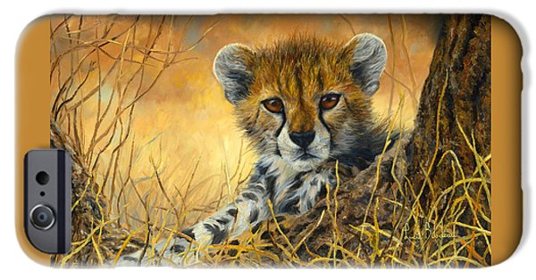 African Wildlife iPhone Cases - Baby Cheetah  iPhone Case by Lucie Bilodeau