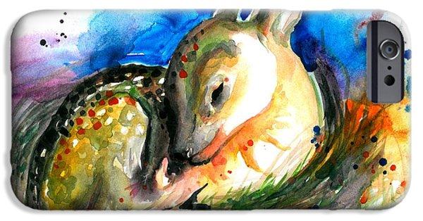 Enfants iPhone Cases - Baby Deer Sleeping - After my original watercolor on heavy paper iPhone Case by Tiberiu Soos