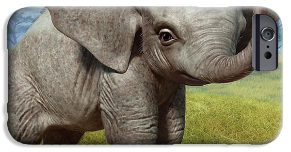Elephants iPhone Cases - Baby Elephant iPhone Case by Gary Hanna