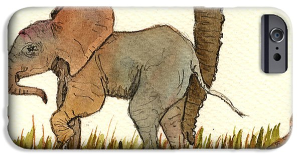 Recently Sold -  - River iPhone Cases - Baby elephant iPhone Case by Juan  Bosco