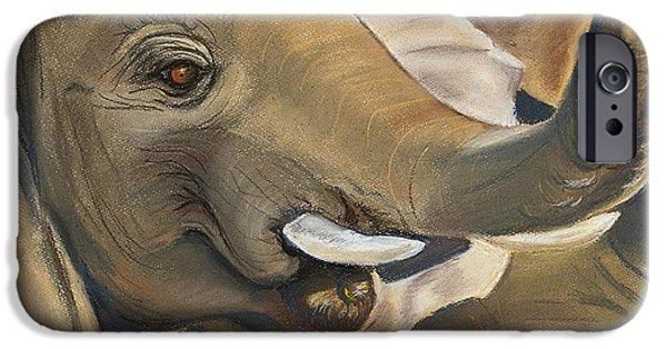 Elephants Pastels iPhone Cases - Zamboo iPhone Case by Judith Davis