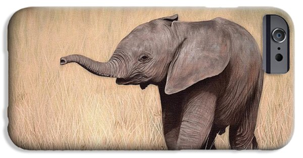 Elephant iPhone Cases - Elephant Calf Painting iPhone Case by Rachel Stribbling