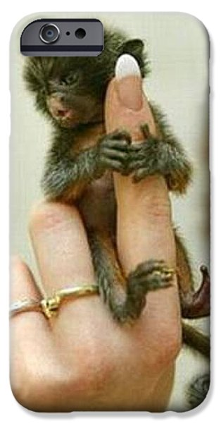 Fed Mixed Media iPhone Cases - Baby Finger Monkey Tan Border iPhone Case by L Brown