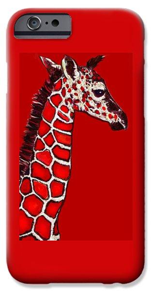 Giraffe Digital iPhone Cases - Baby Giraffe In Red Black And White iPhone Case by Jane Schnetlage