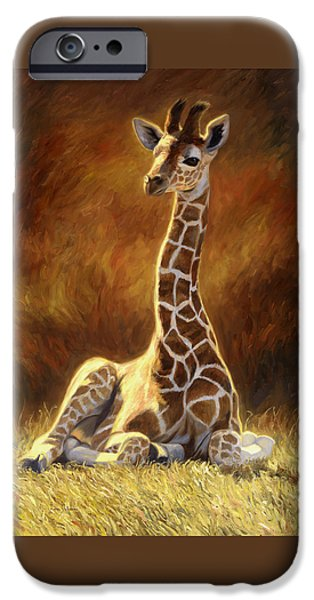 Giraffes iPhone Cases - Baby Giraffe iPhone Case by Lucie Bilodeau