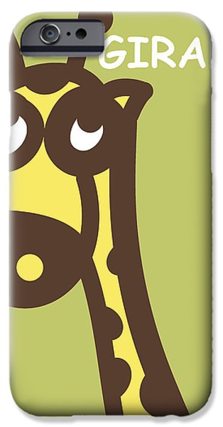 Nursery Art iPhone Cases - Baby Giraffe nursery wall art iPhone Case by Nursery Art
