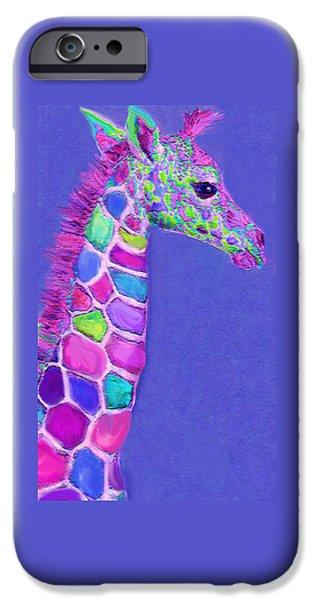 Giraffe Digital iPhone Cases - Baby Giraffe Pink And Purple iPhone Case by Jane Schnetlage