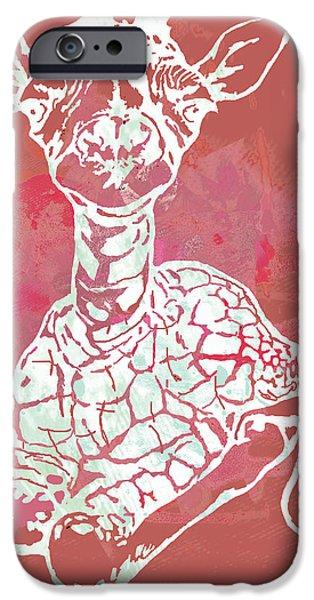 Terrestrial iPhone Cases - Baby Giraffe -  pop modern etching art poster iPhone Case by Kim Wang