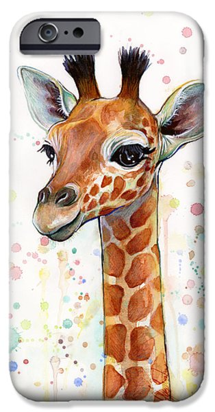 Giraffes iPhone Cases - Baby Giraffe Watercolor Painting iPhone Case by Olga Shvartsur