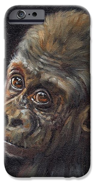 Young Paintings iPhone Cases - Baby Gorilla iPhone Case by David Stribbling