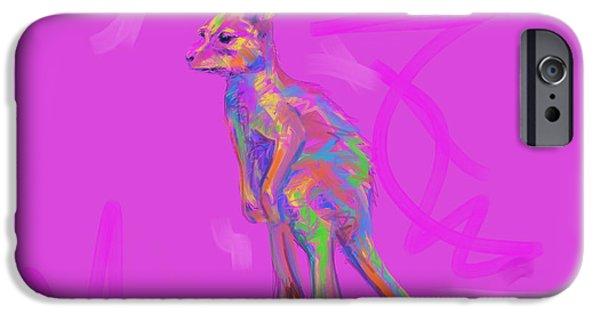 Kangaroo Digital Art iPhone Cases - Baby Kangaroo iPhone Case by Go Van Kampen