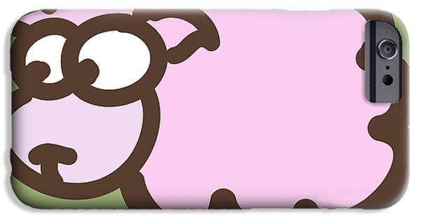 Nursery Art iPhone Cases - Baby Lamb Nursery Art iPhone Case by Nursery Art