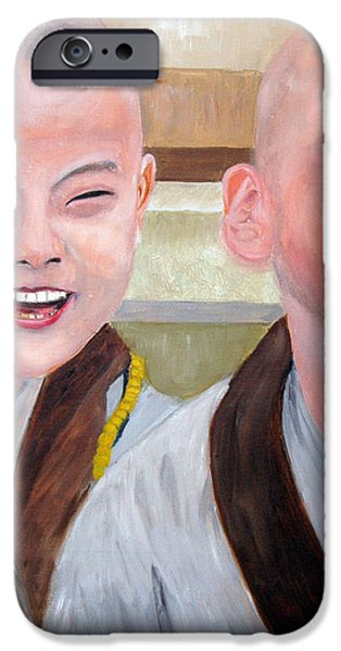 Baby Monk Series I - Laughing and Crying iPhone Case by Clement Tsang