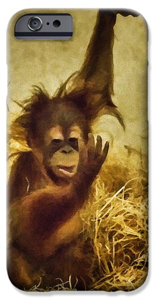 Orangutan Digital Art iPhone Cases - Baby Orangutan at the Denver Zoo iPhone Case by Priscilla Burgers