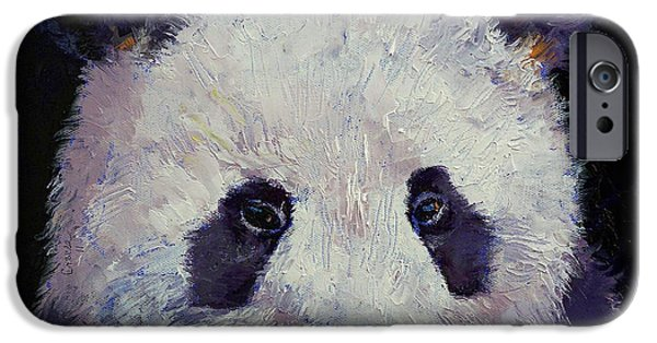 Michael Paintings iPhone Cases - Baby Panda iPhone Case by Michael Creese