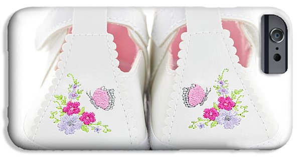 Little Girl iPhone Cases - Baby shoes iPhone Case by Elena Elisseeva