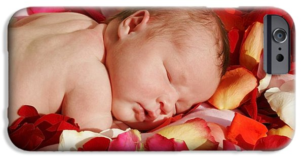Innocence iPhone Cases - Baby Sleeping On A Bed Of Rose Petals iPhone Case by Christine Mariner