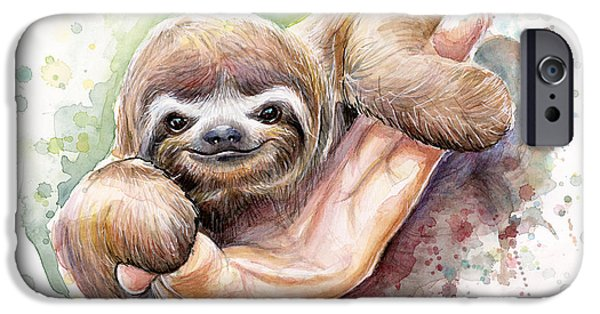 Animal Portraits iPhone Cases - Baby Sloth Watercolor Art iPhone Case by Olga Shvartsur