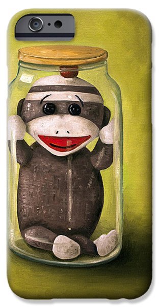 Socks iPhone Cases - Baby Sock Monkey  Preserving Childhood 5 iPhone Case by Leah Saulnier The Painting Maniac