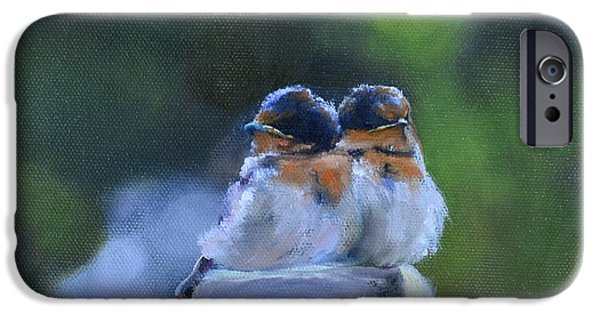 Barn Swallow Paintings iPhone Cases - Baby Swallows on Post iPhone Case by Donna Tuten