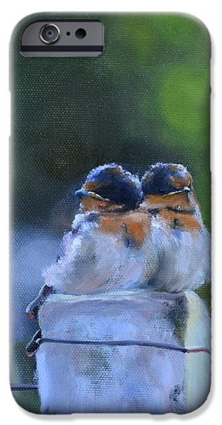 Baby Swallows on Post iPhone Case by Donna Tuten