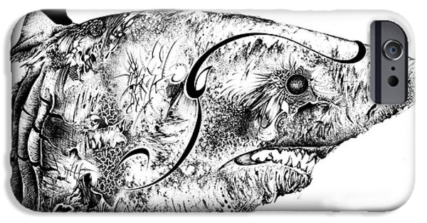 Shark Drawings iPhone Cases - Baby Whit Distorted iPhone Case by Penelope Fedor