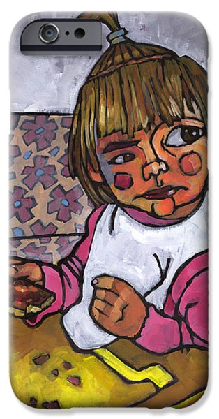 Little Girl iPhone Cases - Baby with Pizza iPhone Case by Douglas Simonson