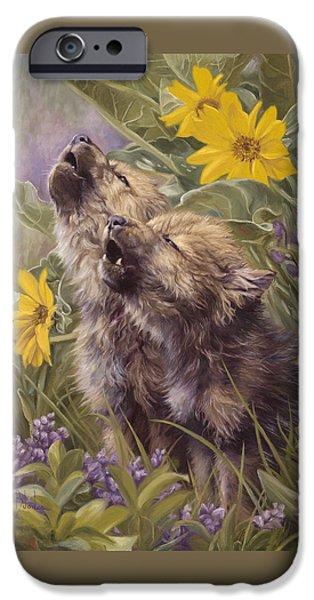Puppies iPhone Cases - Baby Wolves Howling iPhone Case by Lucie Bilodeau