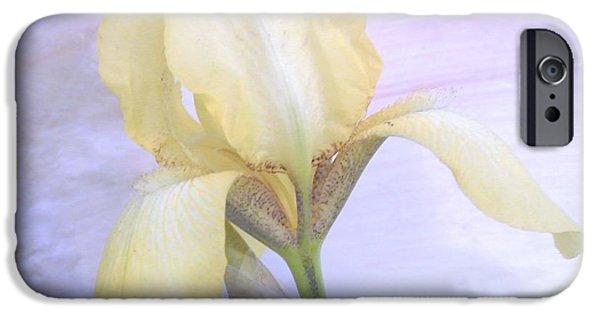 Wrap Digital Art iPhone Cases - Baby Yellow Iris iPhone Case by Marsha Heiken
