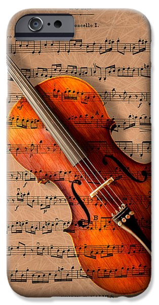 Music iPhone Cases - Bach on Cello iPhone Case by Sheryl Cox