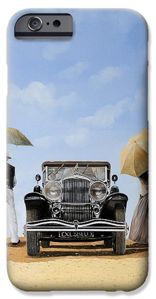 Vintage Car iPhone Cases - Baci Nel Deserto iPhone Case by Guido Borelli