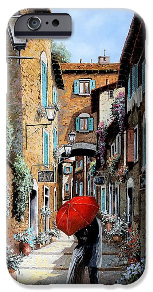 Street Scene Paintings iPhone Cases - Baci Nel Vicolo iPhone Case by Guido Borelli