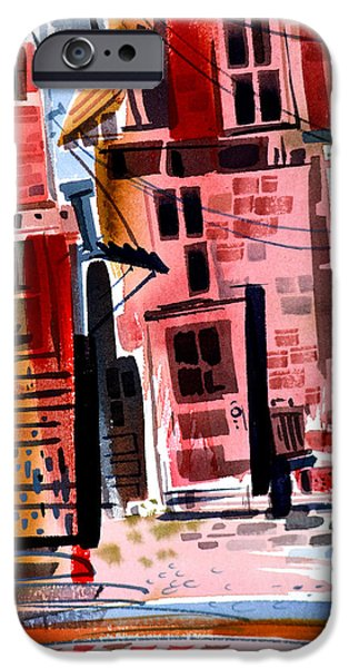 Buildings Mixed Media iPhone Cases - Back Alley  iPhone Case by Ben De Soto