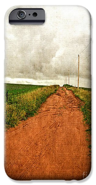 Rust iPhone Cases - the luminous land Back Country Road PEI iPhone Case by Edward Fielding