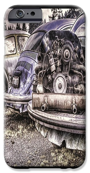 Old Cars iPhone Cases - Back End Bugs iPhone Case by Jean OKeeffe Macro Abundance Art