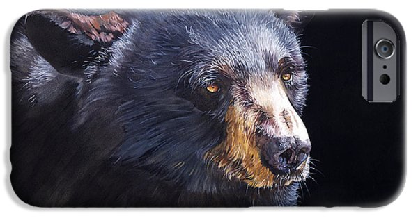 Black Bear iPhone Cases - Back in Black Bear iPhone Case by J W Baker