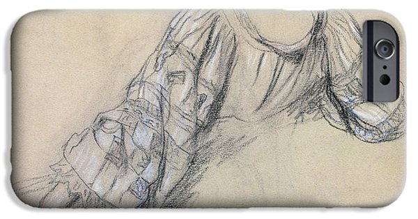 19th Century Drawings iPhone Cases - Back of a Young Woman iPhone Case by Antoine Auguste Ernest Herbert
