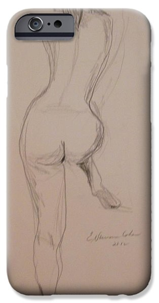 Sepia Ink Drawings iPhone Cases - Back of Nude with Foot Up iPhone Case by Esther Newman-Cohen