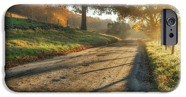 Fall iPhone Cases - Back Road Morning iPhone Case by Bill  Wakeley