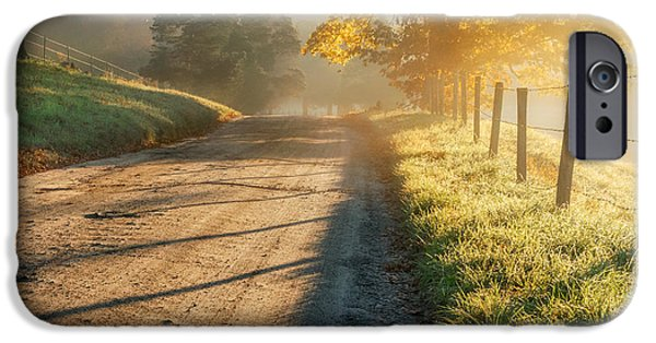 Southern New England iPhone Cases - Back Road Morning Square iPhone Case by Bill  Wakeley