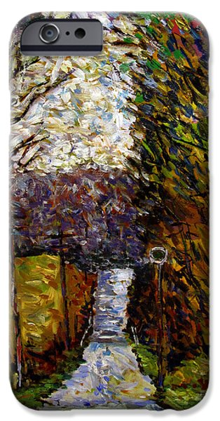Seurat iPhone Cases - Back Road to Hilly House iPhone Case by Charlie Spear