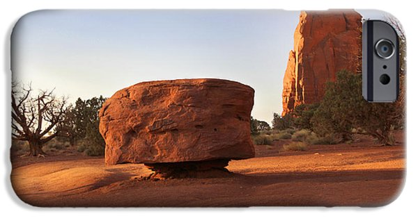 Red Rock iPhone Cases - Back Roads at Monument Valley iPhone Case by Mike McGlothlen